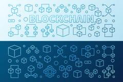 Blockchain technology colorful 2 vector horizontal banners. Blockchain technology colorful modern horizontal banners. Two crypto currency and block chain vector Stock Photos