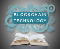 Blockchain technology concept above a book Royalty Free Stock Image