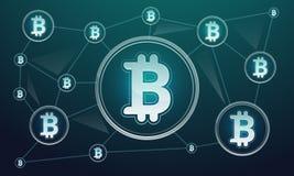 Blockchain technology concept banner, cartoon style vector illustration