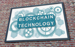 Blockchain technology concept on a billboard. Blockchain technology concept drawn on a billboard fixed on a brick wall stock images