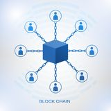 Blockchain technology concept. Cubic nodes connected by chain. Isometric vector illustration of distributed database for cryptography, virtual money, secure e Royalty Free Stock Photos