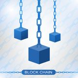 Blockchain technology concept. Cubic nodes connected by chain. Isometric vector illustration of distributed database for cryptography, virtual money, secure e Royalty Free Stock Photography