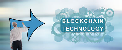 Blockchain technology concept drawn by a man Stock Image