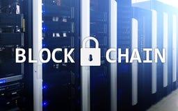 Blockchain technology Concept on server background. Data encryption.  Royalty Free Stock Photo
