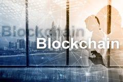 Blockchain technology Concept on server background. Data encryption.  royalty free stock photos