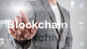 Blockchain technology Concept on server background. Data encryption. royalty free stock photo