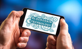 Blockchain technology concept on a smartphone Stock Images