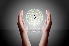 Blockchain technology concept, Woman holding virtual system diagram bitcoin and data protection.