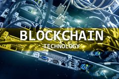 Blockchain technology, cryptocurrency mining.  Stock Photography