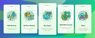 Blockchain Technology, Cryptocurrency Vector Onboarding Mobile App Page Screen vector illustration