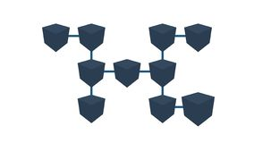 Blockchain Technology Data Transfer. Blockchain system. A pan across a concept network of interconnected blocks of data vector illustration