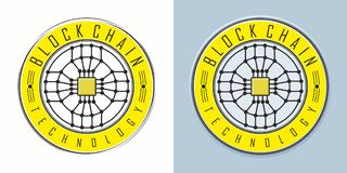 Blockchain token design. Blockchain technology emblem round shape  on white, and variation on muted light blue background, design of token or coin with Stock Photos