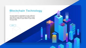 Blockchain Technology Finance. With city scene at night Royalty Free Stock Images