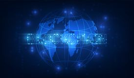 Blockchain technology on futuristic background with world map ne stock illustration