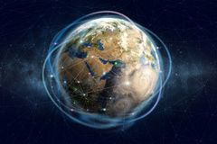 Blockchain technology. Global information network of the planet earth. Financial and communication security stock images