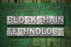 Blockchain technology green pc board Stock Image