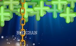 Blockchain technology, green pluses. Data network crypto mining, blue background hyperlink. Chain agreement business concept. Database cryptocurrency. Vector vector illustration
