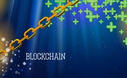 Blockchain technology, green pluses. Data network crypto mining, blue background hyperlink. Chain agreement business concept. Database cryptocurrency. Vector royalty free illustration