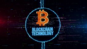 Blockchain technology hologram in electric circle. Blockchain technology and bitcoin symbol hologram in dynamic electric circle on digital background. Modern vector illustration