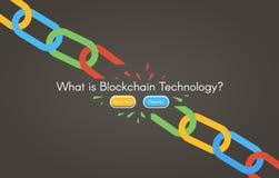 Blockchain technology. Minimalistic vector web illustration. Headline image. Black backgrounds Royalty Free Stock Photography