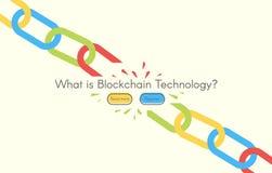 Blockchain technology. Minimalistic vector web illustration. Headline image. White backgrounds Stock Photos