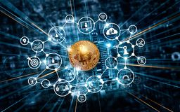 Blockchain technology and network concept. Bitcoin cryptocurrency with icon blockchain network connection on motherboard microcirc Stock Images