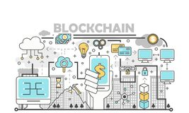 Blockchain technology process concept vector illustration in flat linear style. Blockchain technology process concept vector illustration. Thin line flat style Royalty Free Stock Image