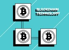 Blockchain technology vector illustration background. Virtual money and e-business Stock Images