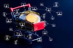 Blockchain teknologi av begreppet för ethereumbitcoincryptocurrency Arkivbilder