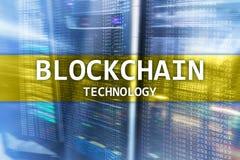 Blockchain teknologi, cryptocurrency som bryter serverrumdata royaltyfri foto