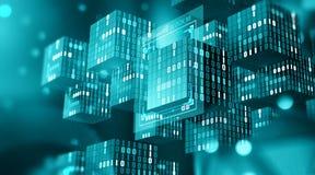 Blockchain teknologi Informationskvarter i digitalt utrymme Decentraliserat globalt nätverk Cyberspacedataskydd arkivbild