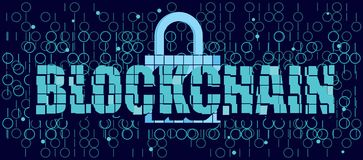 Blockchain emblem design. Blockchain text with 3d mosaic effect, lock and code on dark background, decentralized technology for secure data transfer, protect Royalty Free Stock Photography