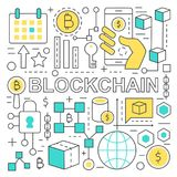 Blockchain text and global network finance concept with blockchain icons elements. Blockchain text and global network finance concept with blockchain elements Stock Images