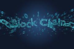 Blockchain-Titel mit einem cahin gemacht von der Datenzahl - 3d übertragen Lizenzfreies Stockfoto
