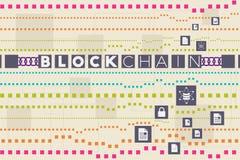 Blockchain und Datenbankkonzept Stockfotos