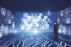 Blockchain und Netzkonzept Lizenzfreies Stockfoto