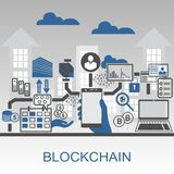 Blockchain vector background illustration with hand holding smartphone and icons. Royalty Free Stock Photos