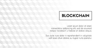 Blockchain. Vector geometrical abstract white cubes background template. Copy space Royalty Free Stock Photo