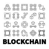 Blockchain vector icons. Set of 20 block chain concept symbols. Blockchain vector icons. Set of 20 block chain concept outline symbols on white background Stock Photo
