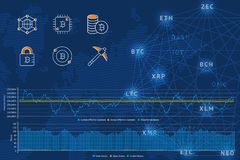 Blockchain vector illustration background with icons, graphs and diagram on a world map background. Crypto currency. Bitcoin, etherium, dash, litecoin, zcash Royalty Free Stock Photo