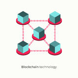 Blockchain vector illustration concept. Blockchain technology concept. Cubic nodes connected by chain. Isometric vector illustration of distributed database for Royalty Free Stock Image