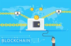 Blockchain vector illustration in flat style. Royalty Free Stock Images