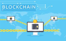 Blockchain vector illustration in flat style. Stock Images
