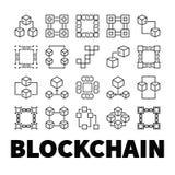 Blockchain vektorsymboler Uppsättning av 20 symboler för begrepp för kvarterkedja Arkivfoto