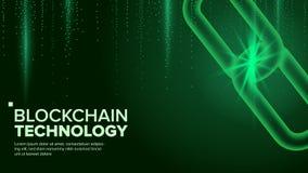 Blockchain wektor Cyfrowego kodu łańcuch P2P Rozwoju oprogramowania platforma Inwestorska Crypto ilustracja Obrazy Stock