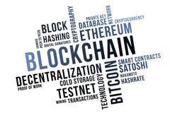 Blockchain word cloud collage, business concept backgroundn. Blockchain word cloud collage, business concept background stock illustration