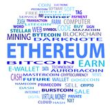 Blockchain, word cloud concept on white background. Word cloud related to bitcoin, cryptocurrency, virtual money and transactions; word `cryptocurrency` Stock Image