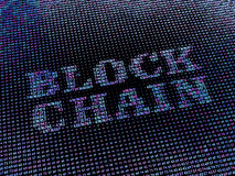 Blockchain word made from hex numbers array. Stock Images