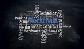 Blockchain wordcloud στην έννοια πινάκων διανυσματική απεικόνιση