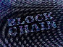 Blockchain-Wort gemacht von der Hexenzahlreihe Stockbilder